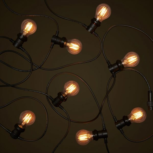 Black Commercial Festoon - 4W Round LED Edison Globes