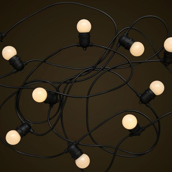 Black Party Festoon Lighting - 1W White LED Light Globes