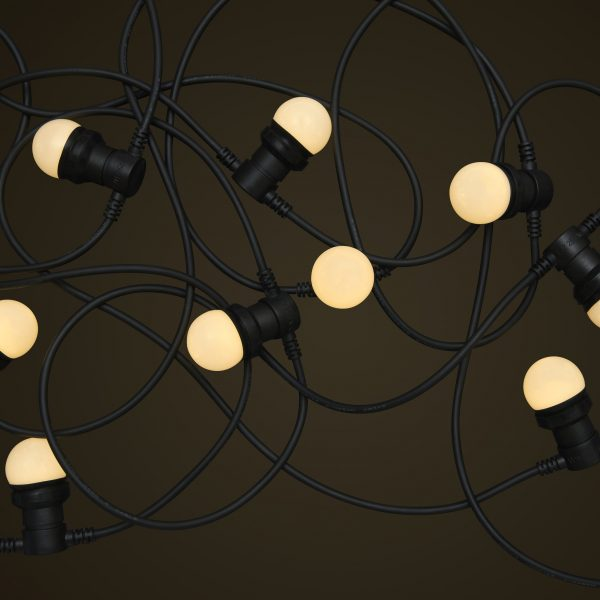Black Commercial Festoon Lighting - 1W Small White LED Light Globes