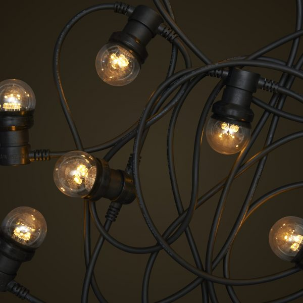 Black Commercial Festoon Lighting - 1W Small Clear LED Light Globes