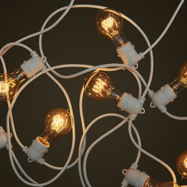 White Party Festoon Lighting - Round Edison Light Globes