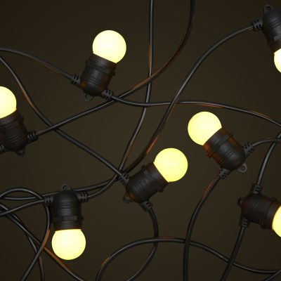 Black Party Festoon Lighting - 1W Small White Light Globes