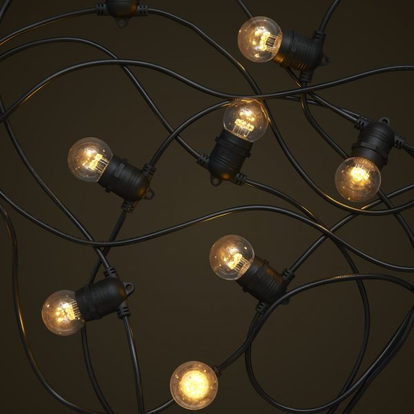 Black Party Festoon Lighting - 1W Small Clear LED Light Globes