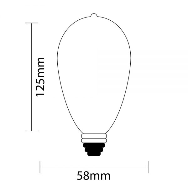 ST58 Fancy Teardrop Edison Festoon Light Globe Specifications