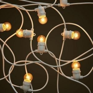 White Party Festoon Lighting - 15W Small Clear Light Globes