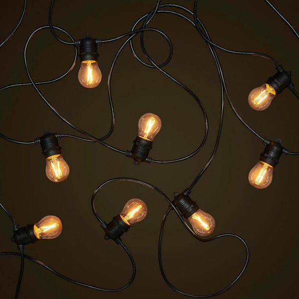 Black Party Festoon - 2W FIlament LED Globes