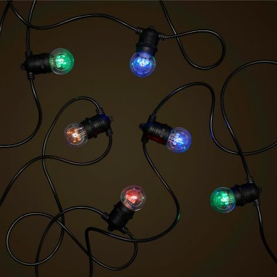 Black Party Festoon - Coloured 1W LED Globes