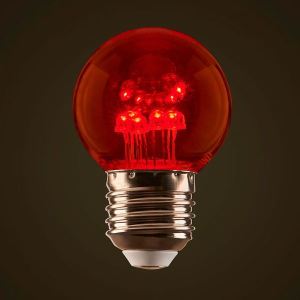 Red 1W LED Coloured Globe
