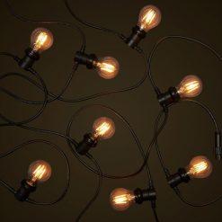 Black Commercial Festoon - 4W Round LED Edison Globes