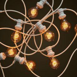 Commercial White Festoon Lighting - Round Edison Light Globes